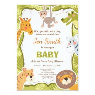 Jungle Safari Animal Baby shower invitation Zoo