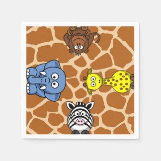 Jungle safari animal neutral gender baby shower disposable serviettes