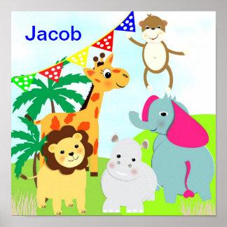 Jungle Safari Cute Animals Personalized Picture Print