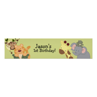 JUNGLE SAFARI Monkey Birthday Banner Poster
