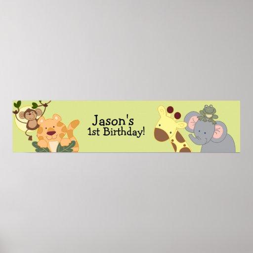 JUNGLE SAFARI Monkey Birthday Banner Print
