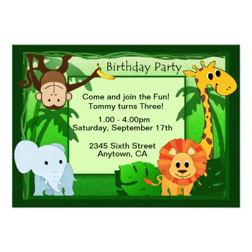 Jungle Theme Birthday Party Invite on Zazzle.co.nz