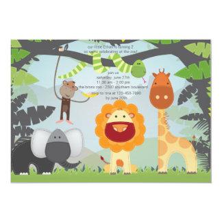 Jungle Zoo Animals Birthday Party Invitation