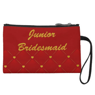 Junior Bridesmaid (gold/red) Wristlet Purses