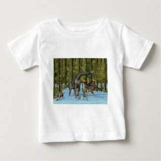 Jurassic Dinosaurs in a Mossy Swamp. Baby T-Shirt