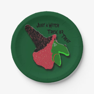 Just a Witch Trick or Treat 7 Inch Paper Plate
