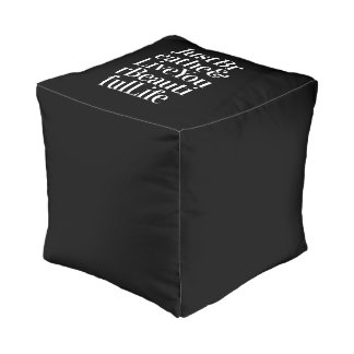 Just Breathe Positive Quotes Black White Type Pouf