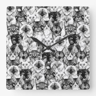 just cats square wall clock