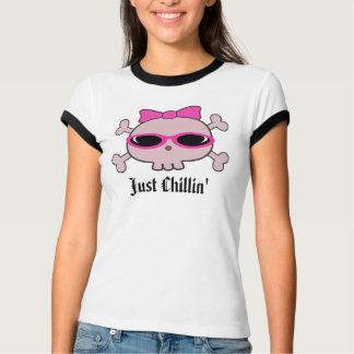 Just Chillin' Pink Cartoon Skull With Sunglasses T-Shirt