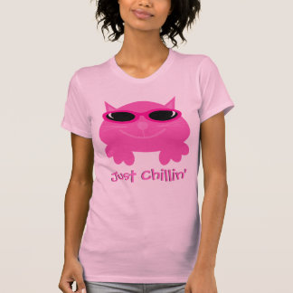 Just Chillin' Pink Cat With Sunglasses T-Shirt