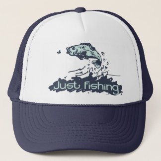Just fishing fish jumping hat navy and teal