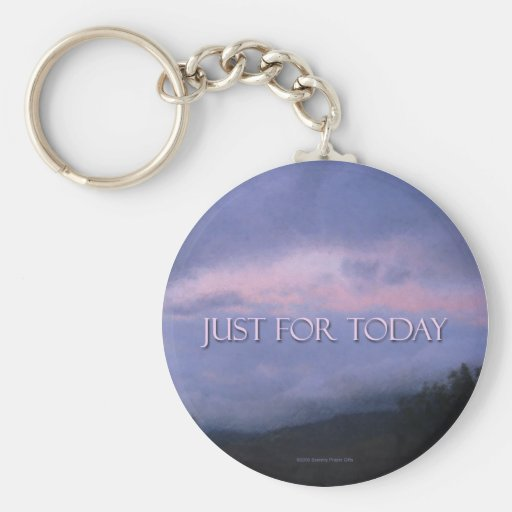 Just For Today Pink Clouds Keychain