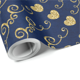 Just for You Made with Love Golden Glitter Heart Wrapping Paper
