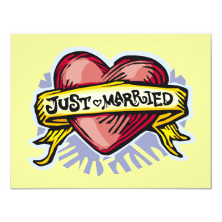 Just Married 11 Cm X 14 Cm Invitation Card