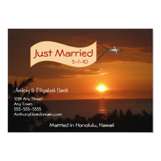 Just Married Announcement Message in the Sky