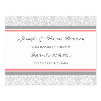 Just Married Announcement Postcards Grey Damask