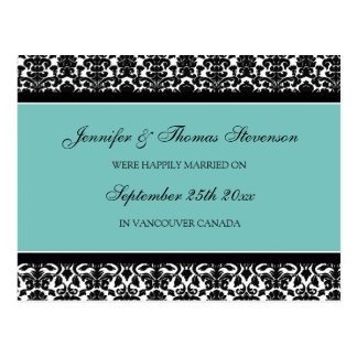 Just Married Announcement Postcards Teal Damask