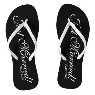 Just Married beach flip flops for bride and groom Thongs