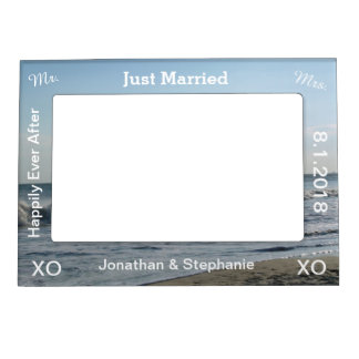 Just Married Blue Beach Sand Wedding Magnetic Frame