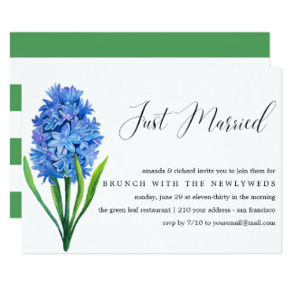 Just Married Blue Hydrangea post wedding brunch Card