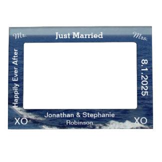 Just Married Blue Ocean Waves Wedding Magnetic Frame