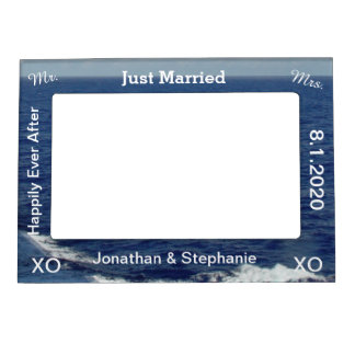 Just Married Blue Ocean Waves Wedding Magnetic Picture Frame
