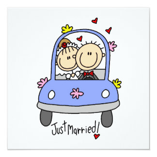 Just Married Bride and Groom T-shirts and Gifts 13 Cm X 13 Cm Square Invitation Card