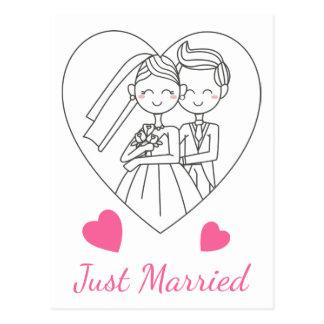 Just Married Bride & Groom Pink Heart Wedding Postcard