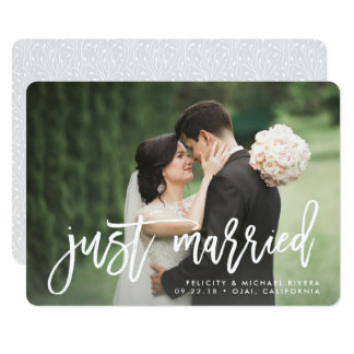 Just Married | Brush Lettered Wedding Announcement