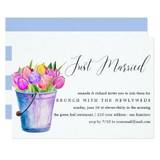 Just Married Bucket Flowers post wedding brunch Card