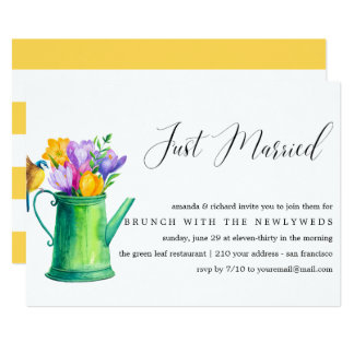 Just Married Bunch of Flowers post wedding brunch Card