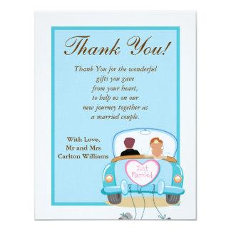 Just Married Car Wedding Flat Thank You Card 11 Cm X 14 Cm Invitation Card