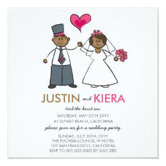 Just Married Cartoon Wedding Couple Announcement