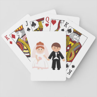 Just Married Couple Playing Cards