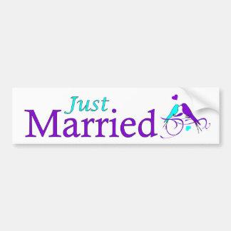 Just Married decal with elegant purple +blue birds Bumper Sticker