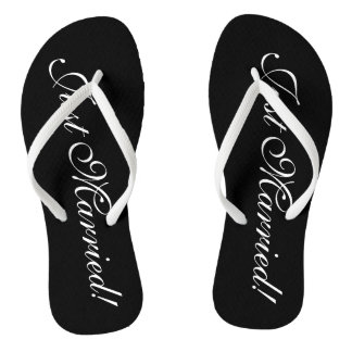 Just Married flip flops for bride and groom couple