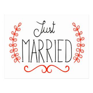 Just Married Floral Red & Black Wedding Postcard