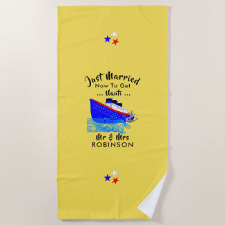 Just Married Funny Cruise Ship Personalized Beach Towel