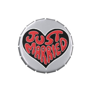 Just Married Heart Candy Tins