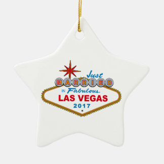 Just Married In Fabulous Las Vegas 2017 (Sign) Christmas Ornament