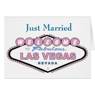 Just Married Las Vegas Announcement Card NEW Rose