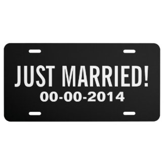 Just married license plate for wedding car license plate