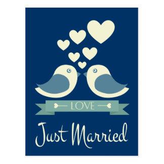 Just Married Lovebirds Blue Wedding Announcement Postcard