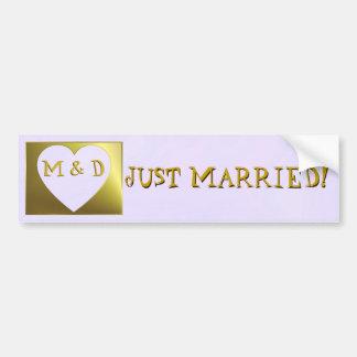 Just Married Monogram Lilac /Golden Bumper Sticker