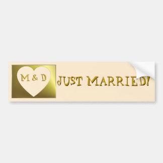 Just Married Monogram Weds Golden Bumper Sticker