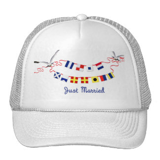 Just Married Nautical Flags Cap