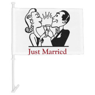 Just Married Newly Wed Car Flag