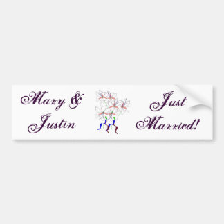 """Just Married"" Peace Lillies Bumper Sticker Car Bumper Sticker"