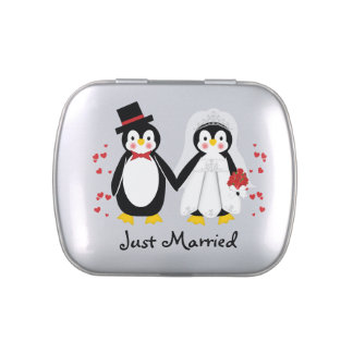 Just Married Penguin Wedding Couple Candy Tin