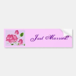 """Just Married"" Pink Lavender Rose Bumper Sticker Car Bumper Sticker"